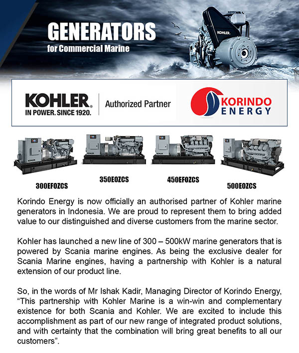 Korindo Energy is now officially an authorized partner of Kohler marine generators in Indonesia.